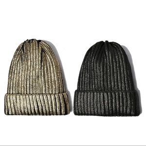 Ladies Metallic Knit Winter Hat